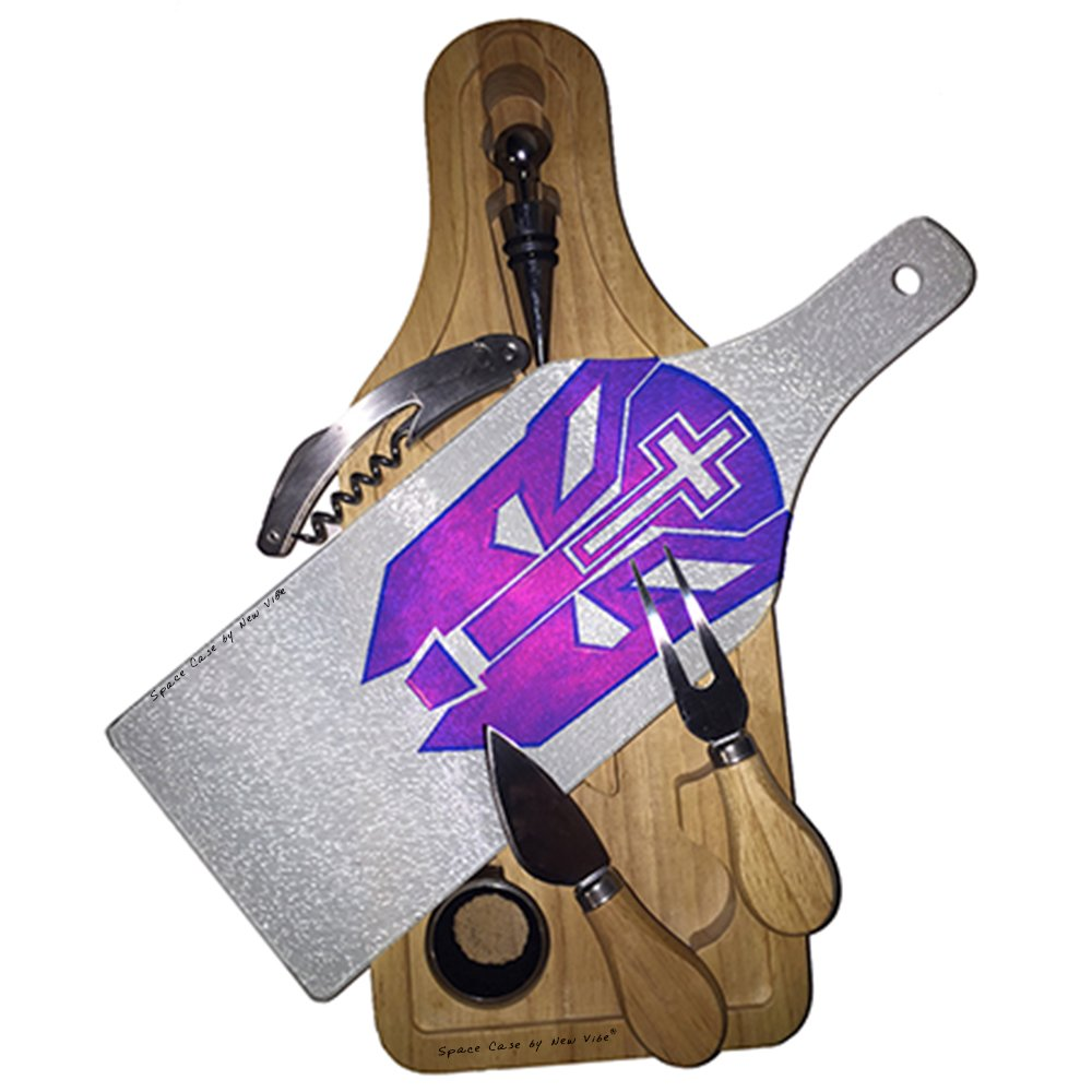 Transformer Christian Cat Pink Wine & Cheese Set Glass Cutting Board by Space Case