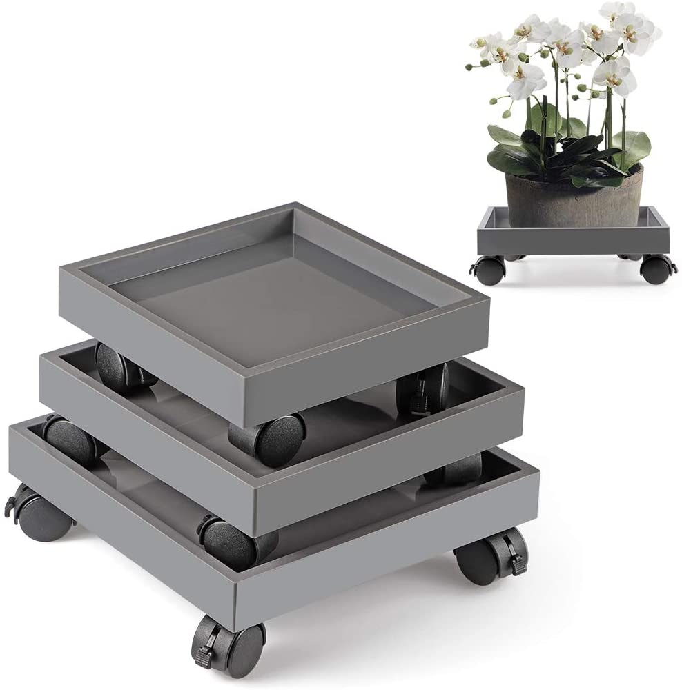 Skelang Square Plant Caddy, Wheeled Planter Trays, ABS Plant Pallet, Heavy Duty Plant Dolly Saucer for Moving Potted Planter, Deck Flower Plants, Load Capacity 220 Lbs, Set of 3