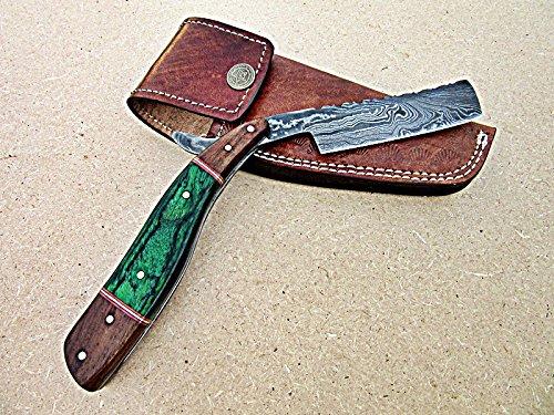 RZ-29, Custom Handmade Damascus Steel Straight Razor - Beautiful Doller Sheath and Rose Wood Handle
