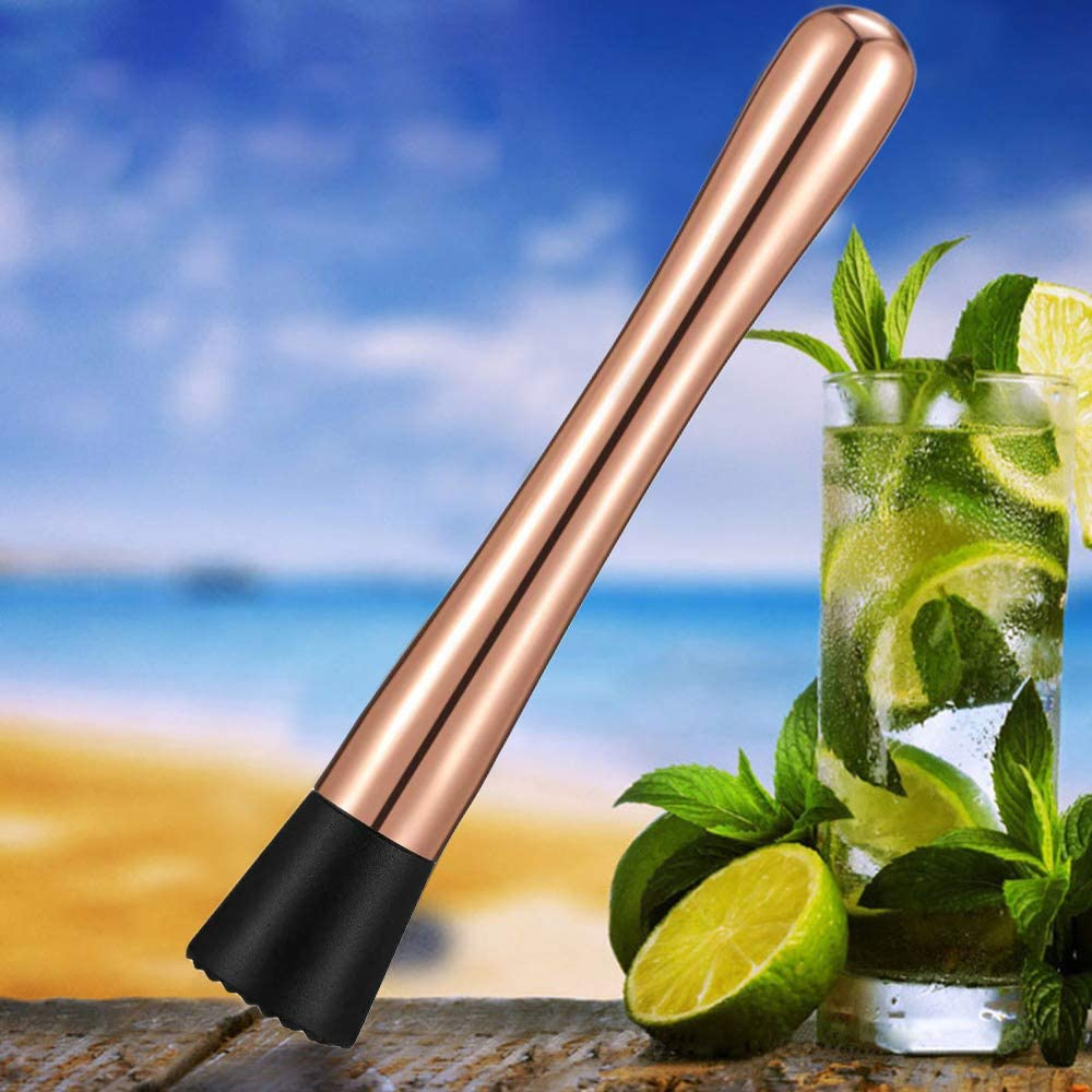 Rose Gold Stainless Steel Cocktail Muddler 8-inch Swizzle Stick Ice Cocktail Ramming Popsicle Masher Broken Popsicles with Grooved Nylon Head Bartender Tool