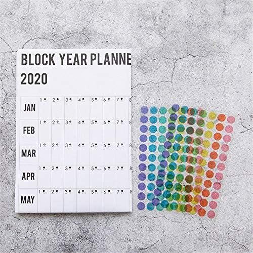 Tischkalender Kalendarien 2020 Jahr Jahresplan Kalender Tagesablauf mit Aufkleber Dots Wandplaner Kawaii Briefpapier Studienplanung Lernen for Kinder (Color : White)