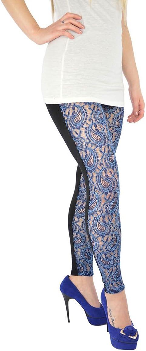 Blue Lace Front Leggings Best Seller One Size Uk 8 14 Blue Lace Amazon Co Uk Shoes Bags