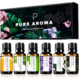 Essential Oils by Pure Aroma 100% Pure Therapeutic Grade Oils kit- Top 6 Aromatherapy Oils Gift Set-6 Pack, 10ML(Eucalyptus, Lavender, Lemon Grass, Orange, Peppermint, Tea Tree)