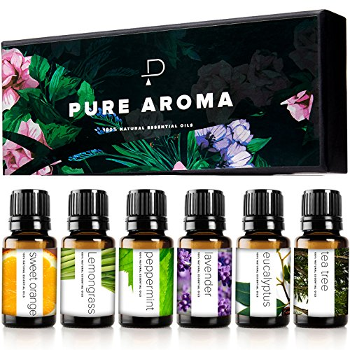 Essential oils by PURE AROMA 100% Pure Therapeutic Grade Oils kit- Top 6 Aromatherapy Oils Gift Set-6 Pack, 10ML(Eucalyptus, Lavender, Lemon grass, Orange, Peppermint, Tea Tree) by Pure Aroma