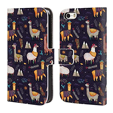Official Oilikki Llamas Animal Patterns Leather Book Wallet Case Cover For Apple iPhone 5 / 5s / SE (Ipod 5 Llama Case)
