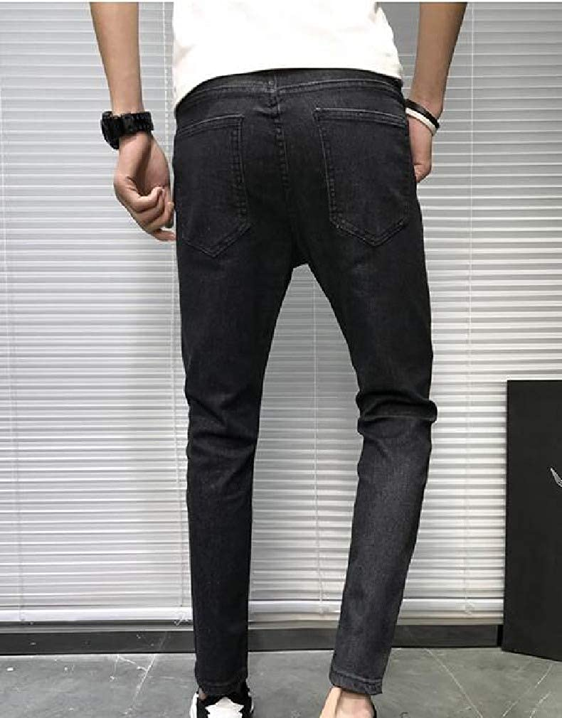 Andopa Mens Comfy Fashion Basic Style Slim Fitted Washed Wild Pants