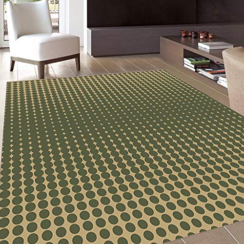 Rug,Floor Mat Rug,Olive Green,Area Rug,Abstract Dotted Halftone Design Vintage Inspirations Geometrical,Home mat,4'x6'Olive Green Pale Brown,Rubber Non Slip,Indoor/Front Door/Kitchen and Living Room/B