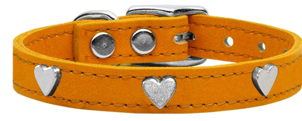 Mirage Pet Products Heart Widget Genuine Leather Dog Collar, Size 12, Mandarin Silver