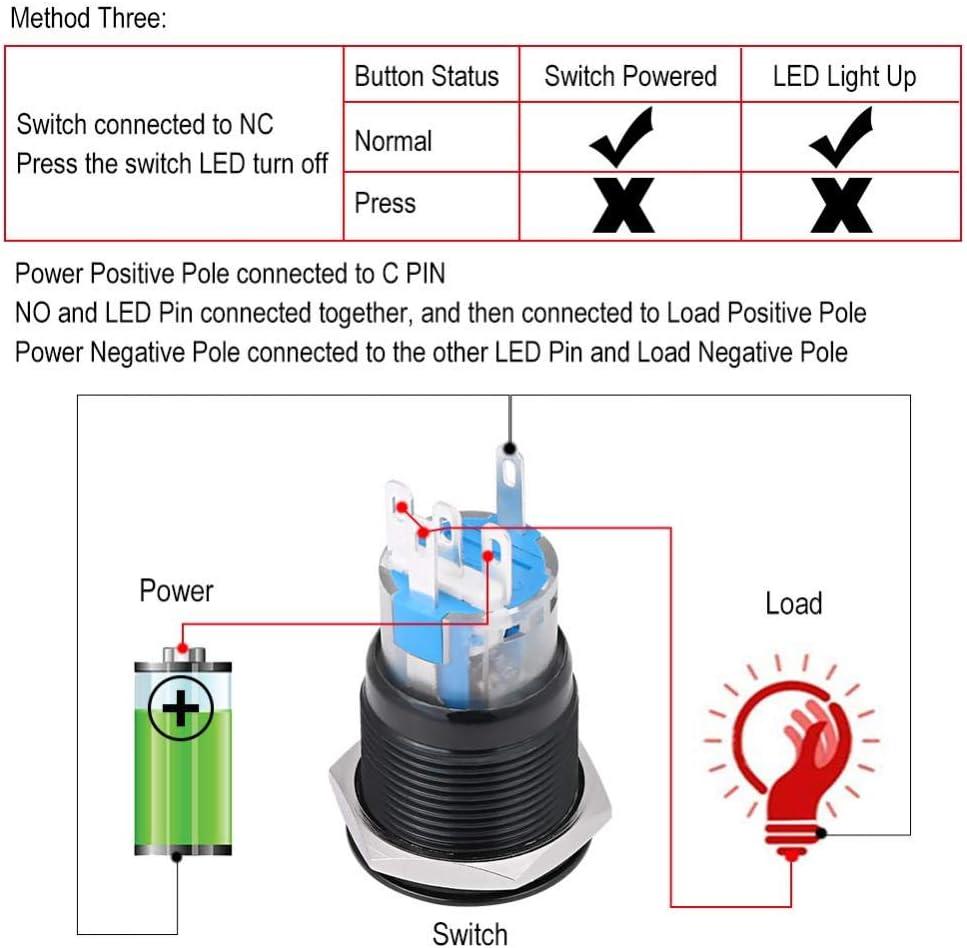 Interruptor de bot/ón de encendido del motor bot/ón de encendido universal interruptor de encendido interruptor de encendido Keenso 12 V para arranque del motor del coche