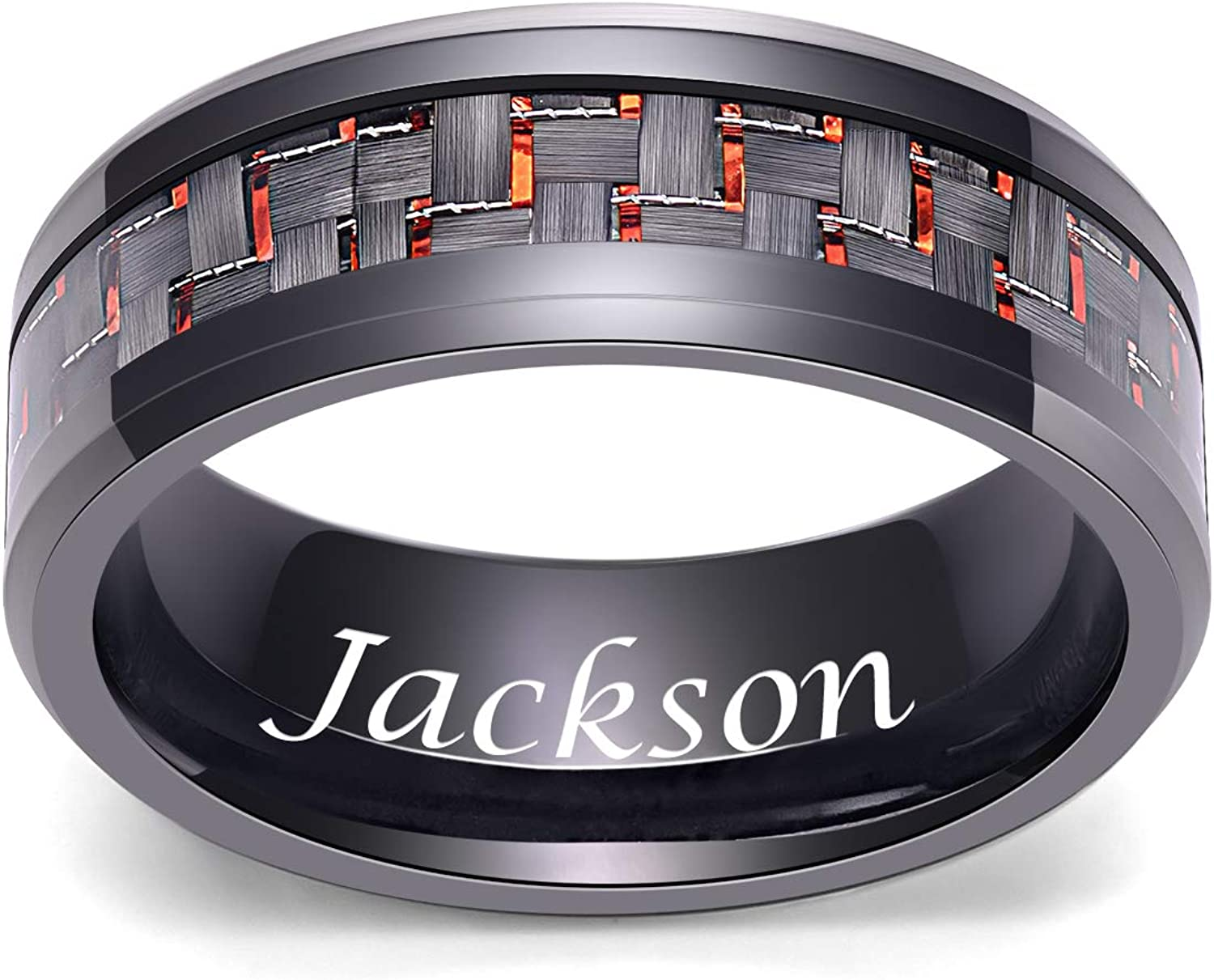 LerchPhi Mens 8mm Black Tungsten Carbide Ring with red Carbon Fiber Wedding Rings Comfort-fit Edge Free Personalized Engrave Wedding Band