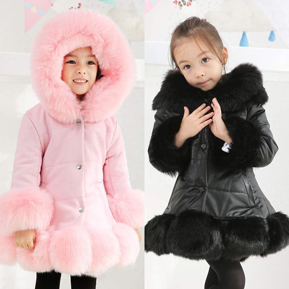 Mxssi Girls Coats Thick Hooded Padded Winter Warm Coat Jacket Parka Coat Faux Fur Collar Coat Hood Winter Warm Down Cotton Coat Long Windbreaker
