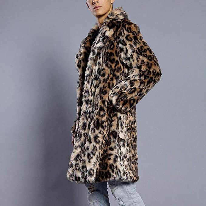 Beautyfine Mens Leopard Faux Fur Jacket Coat Casual Warm Thick Fur Collar Parka Outwear Cardigan at Amazon Mens Clothing store: