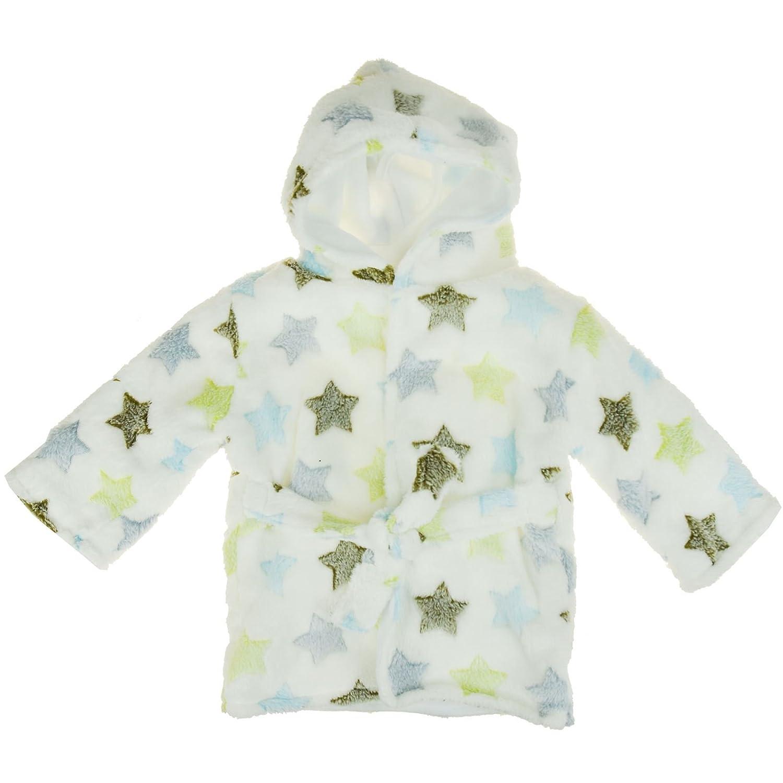 White Baby Boys Girls Heart//Star Print Soft Fleece Warm Bath Robe Nightwear Long Sleeve Hooded Dressing Gown
