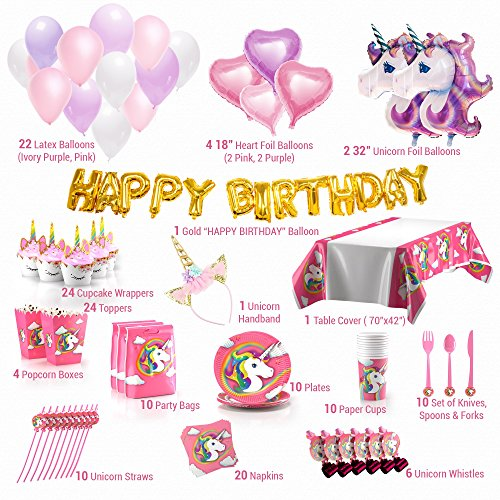 180+ PCS Complete Unicorn Party Supplies & Decorations - Glittery Unicorn Headband | Disposable Tableware Set | 30 Magical Balloons | 24 Pc Unicorn Cupcake Wrappers & Toppers | Party Favors by FETTI FETTI (Image #6)