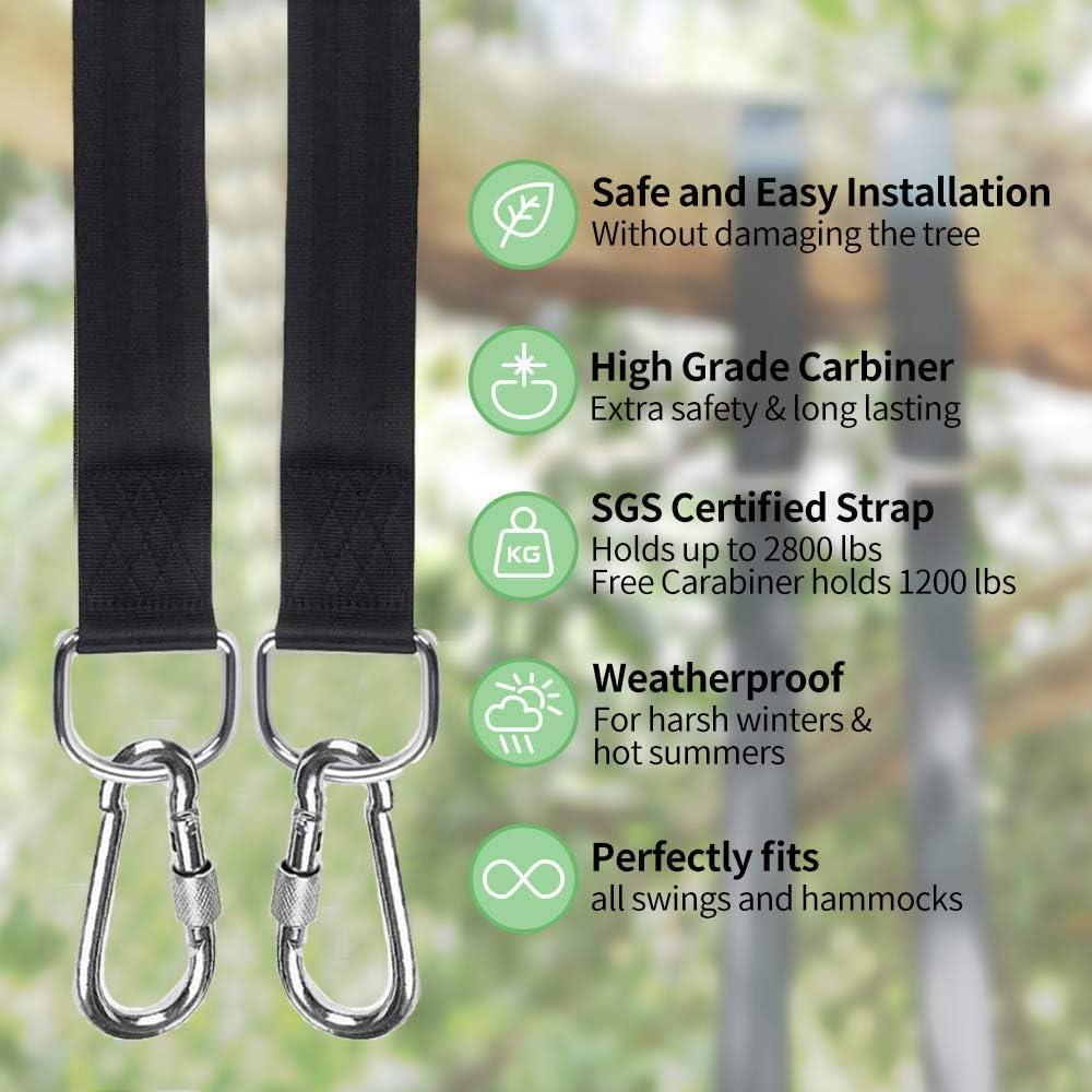 HHOOMY Supporto per Altalena 2 Cuscinetti di Protezione per Albero e 2 moschettoni Premium Due Cinghie da 1,5 m capacit/à 500 kg Swing e Amaca con Cinghia