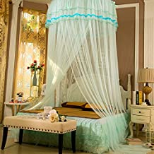 Saibang Bed Canopy Mosquito Net, Beautiful Princess Round Hoop Lace Bed Canopy Netting Curtains Mosquito Net (Blue)