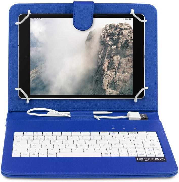 OME® Funda con teclado Tablet 7 pulgadas con conexión MicroUsb-OTG (Azul)
