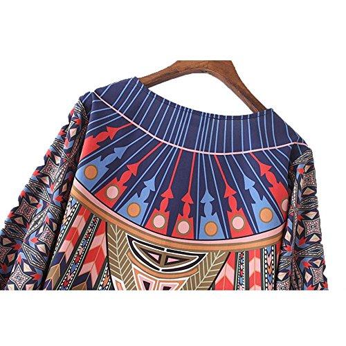LILICAT Vintage mujeres patinador vestido flojo geométrico patrón de impresión 3/4 mangas vestido de verano Azul