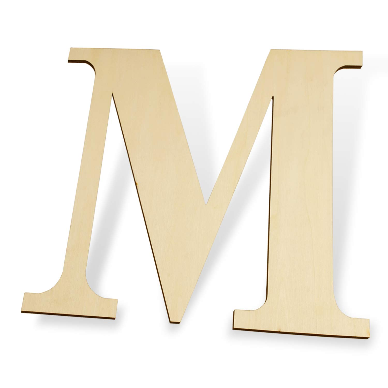 "12 inch Wooden Letters M - Blank Wood Board, Wood Letters for Walls Decor, Party, DIY Craft Projects (12"" - 1/4"" Thick, M)"
