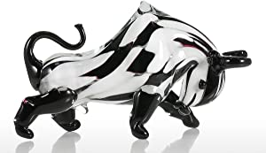 Tooarts Cattle Glass Sculpture Home Decor Animal Ornament Craft Gift Decoration Black&White