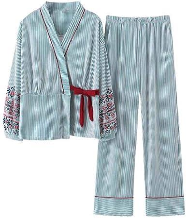 Pijamas japonesas Ropa de hogar de algodón de Manga Larga para Mujeres, Tops + Pantalones, 01: Amazon.es: Ropa y accesorios