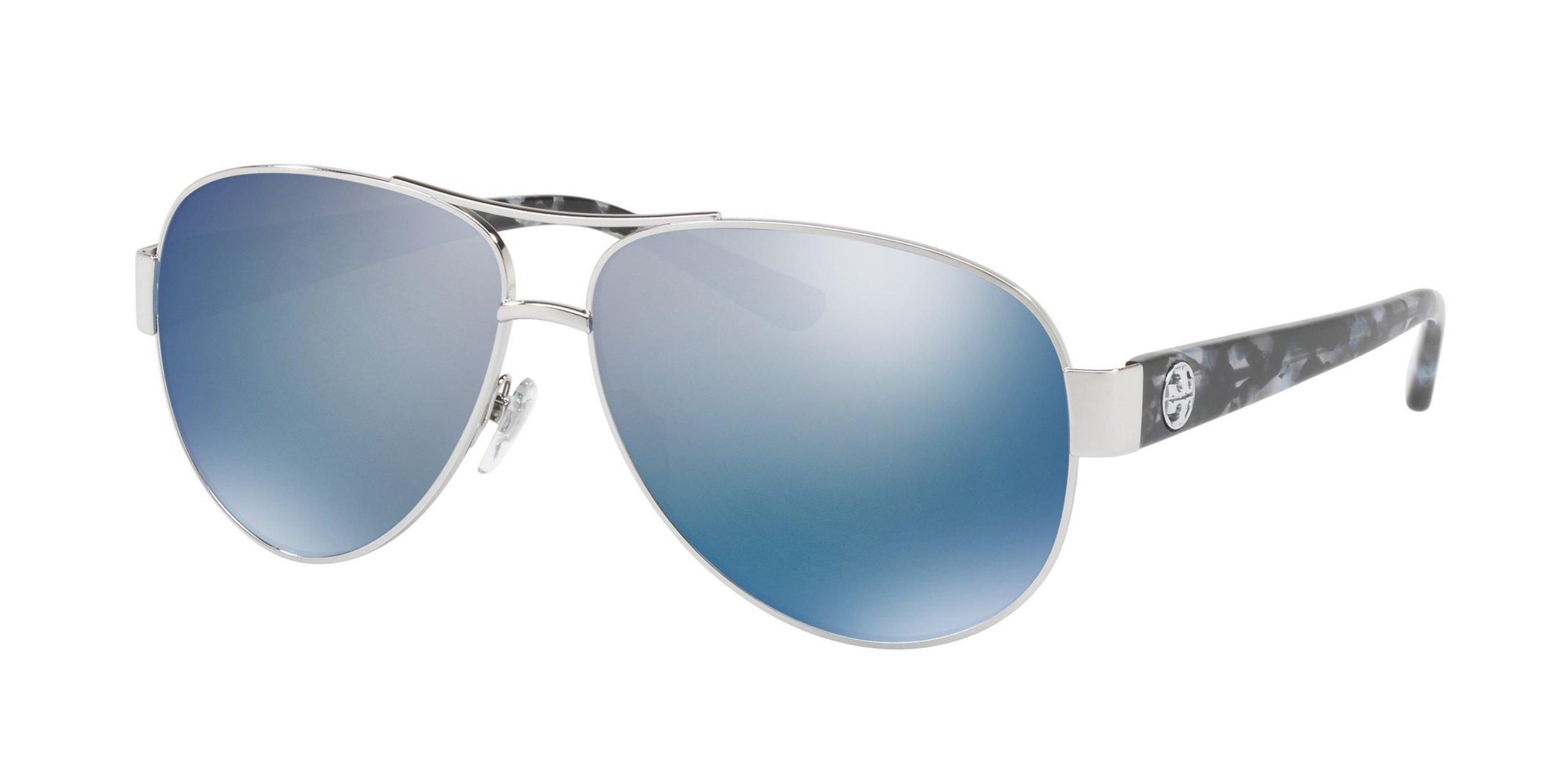 Tory Burch Women's 0TY6057 Silver/Blue Flash Polarized Mirror Sunglasses
