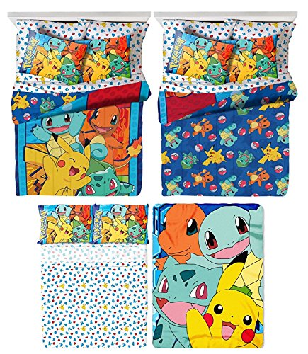 Pokémon 5 Piece Kids Twin Bedding Set - Reversible Comforter, Sheet Set with Reversible Pillowcase and Ultra Soft Throw Blanket