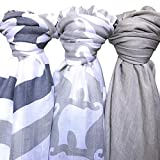 Baby Muslin Swaddle Blanket - Soft 100% Bamboo 3 Pack by Lolly LLama| Large Baby Swaddles for Quality Baby Comfort & Sleep | Muslin Swaddling and Receiving Blankets