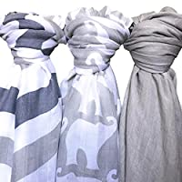 Baby Muslin Swaddle Blanket - Soft 100% Bamboo 3 Pack by Lolly LLama| Large B...