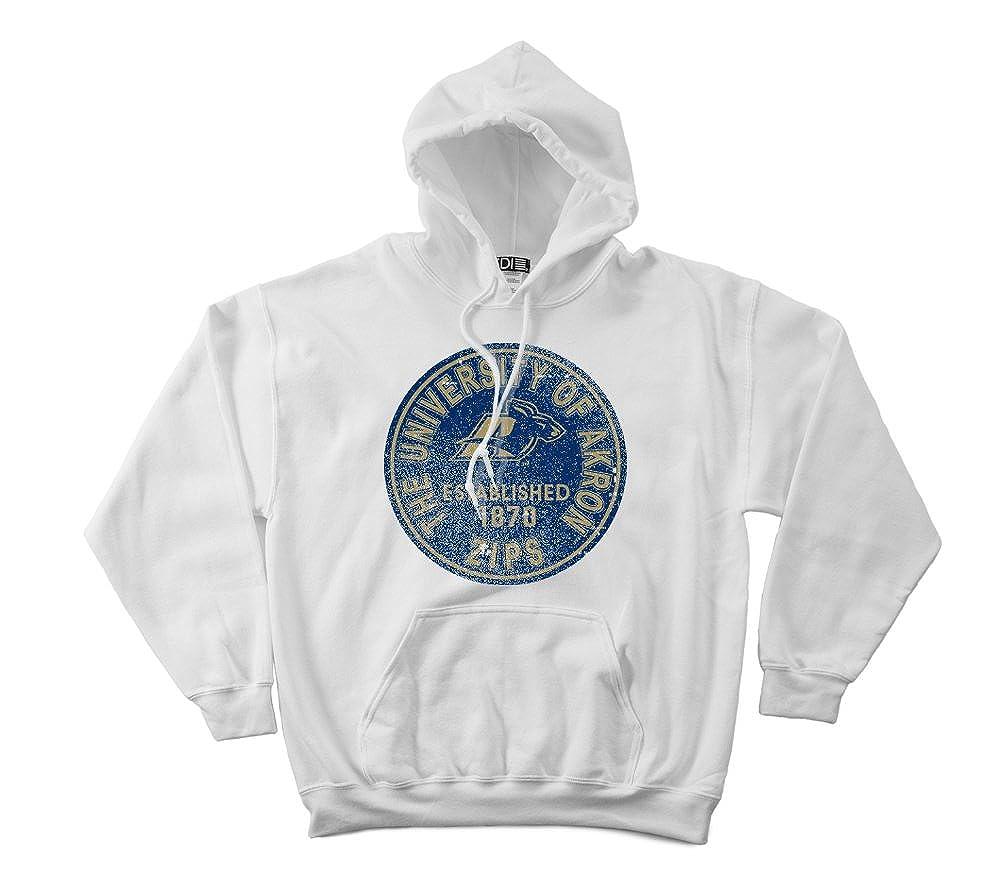 NCAA Akron Zips 50//50 Blended 8-Ounce Vintage Circle Hooded Sweatshirt