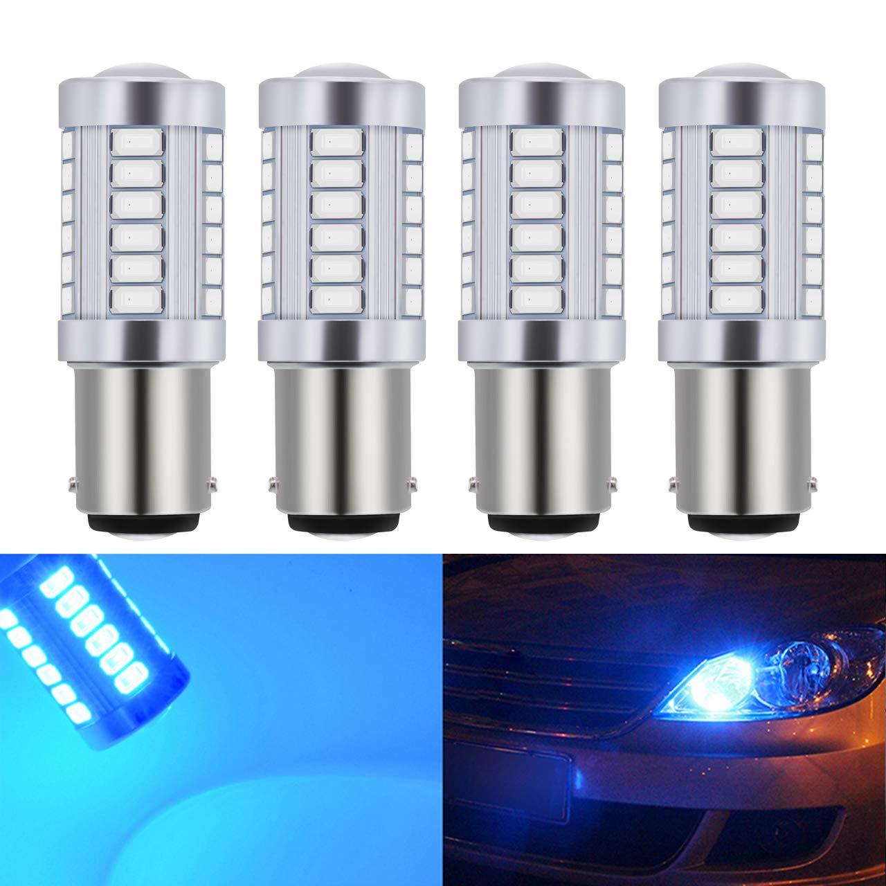 KaTur 4pcs 1157 BAY15D 5630 33-SMD Red 900 Lumens Super Bright LED Turn Tail Brake Stop Signal Light Lamp Bulb 12V 3.6W