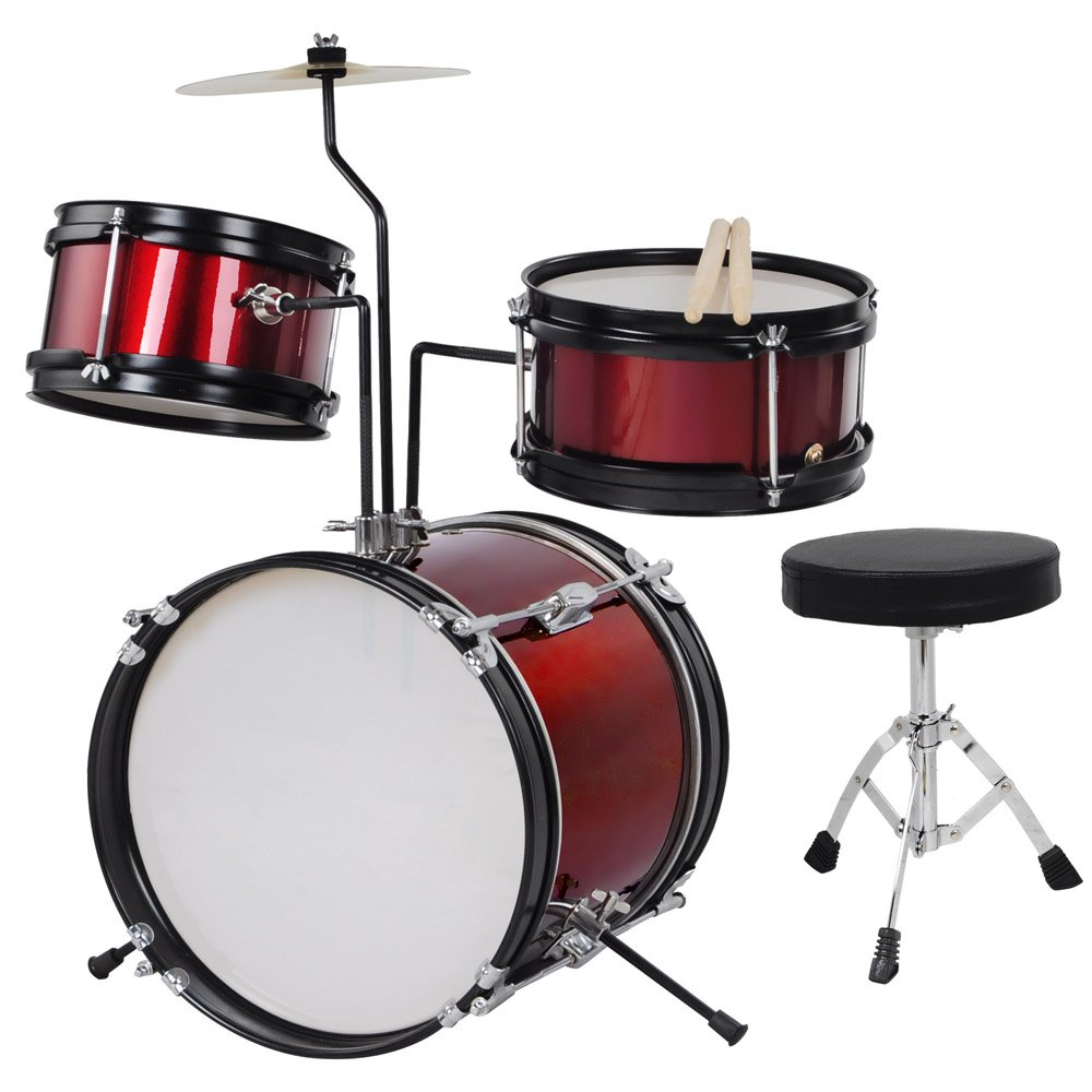 3pcs Junior Kids Child Drum Set Kit Sticks Throne Cymbal Bass Snare Boy Girl Red by AW (Image #2)