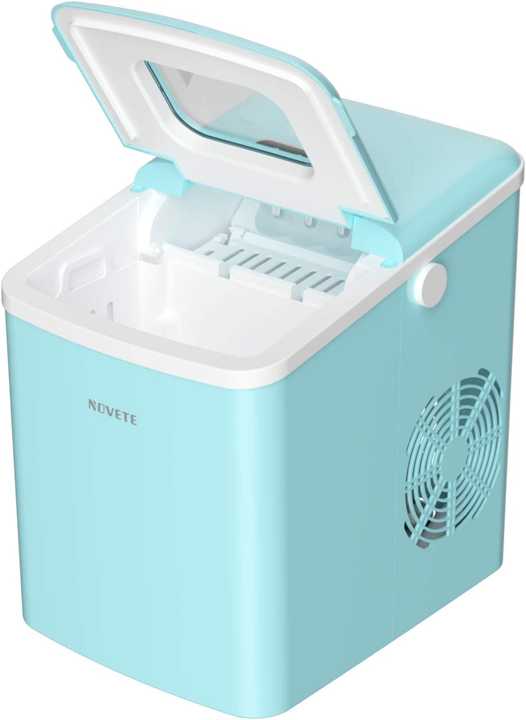 Ice Maker, NOVETE Portable Countertop Ice Maker Machine, 28.7 lbs Ice in 24 Hours, 9 Cubes Ready in 6 Minutes, Turquoise Home Mini Ice Machine with Ice Scoop and Basket, for Parties Mixed Drinks