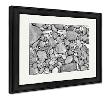 Ashley framed prints pebbles wall art home decoration black white 34x40