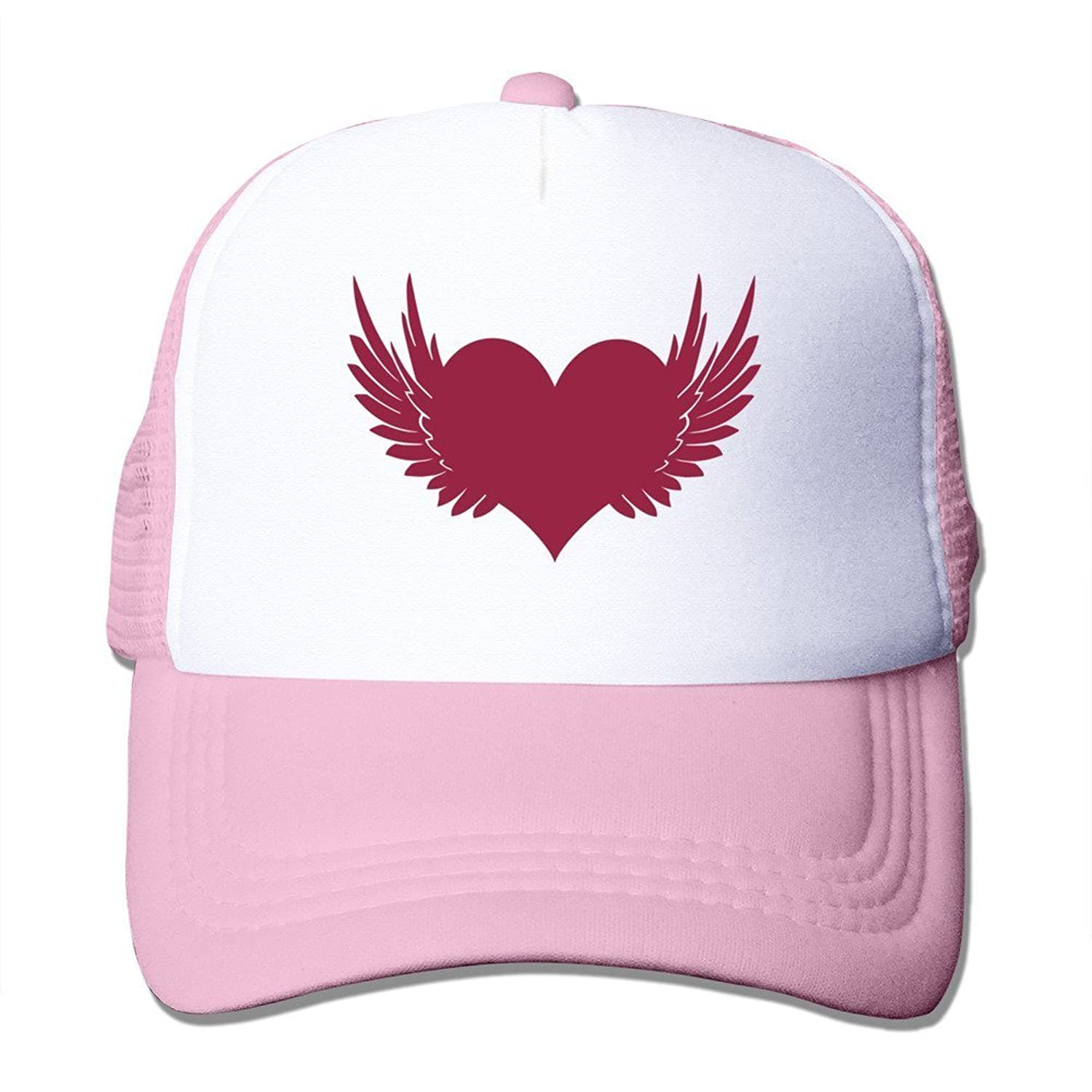 Bro-Custom Flying Heart Love Graphic Trucker Hat Cap One Size Fit All Black