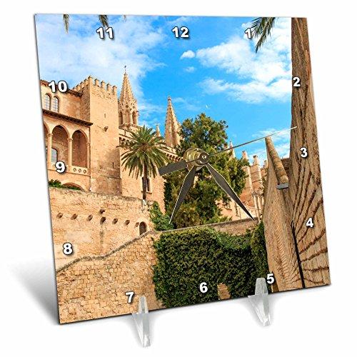 3dRose Danita Delimont - Cities - Spain, Balearic Islands, Mallorca, Palma de Mallorca, stone towers - 6x6 Desk Clock (dc_277905_1) by 3dRose
