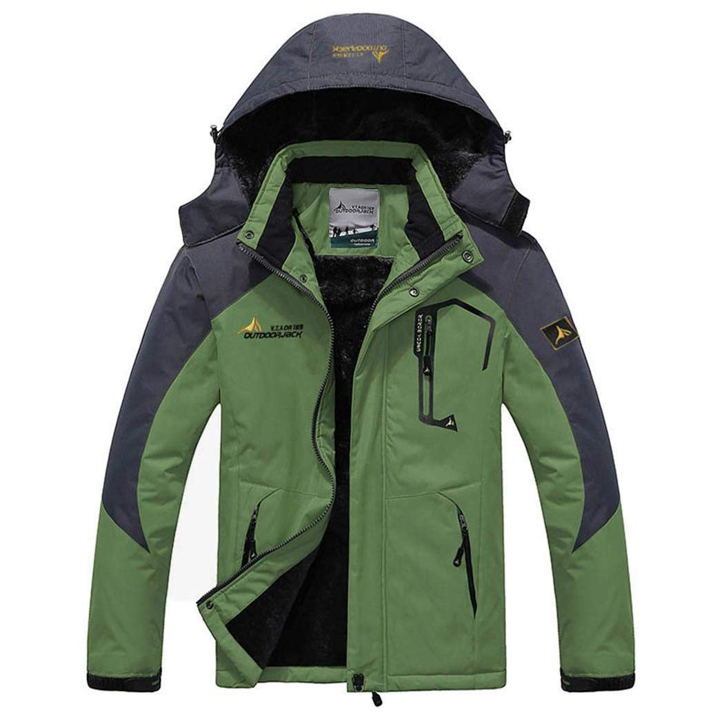 Vert 6XL Imposes Mode Hommes Capuche à Manches Longues Patchwork Fermeture éclair de Plein air vêteHommests de Plein air Vestes de Sport