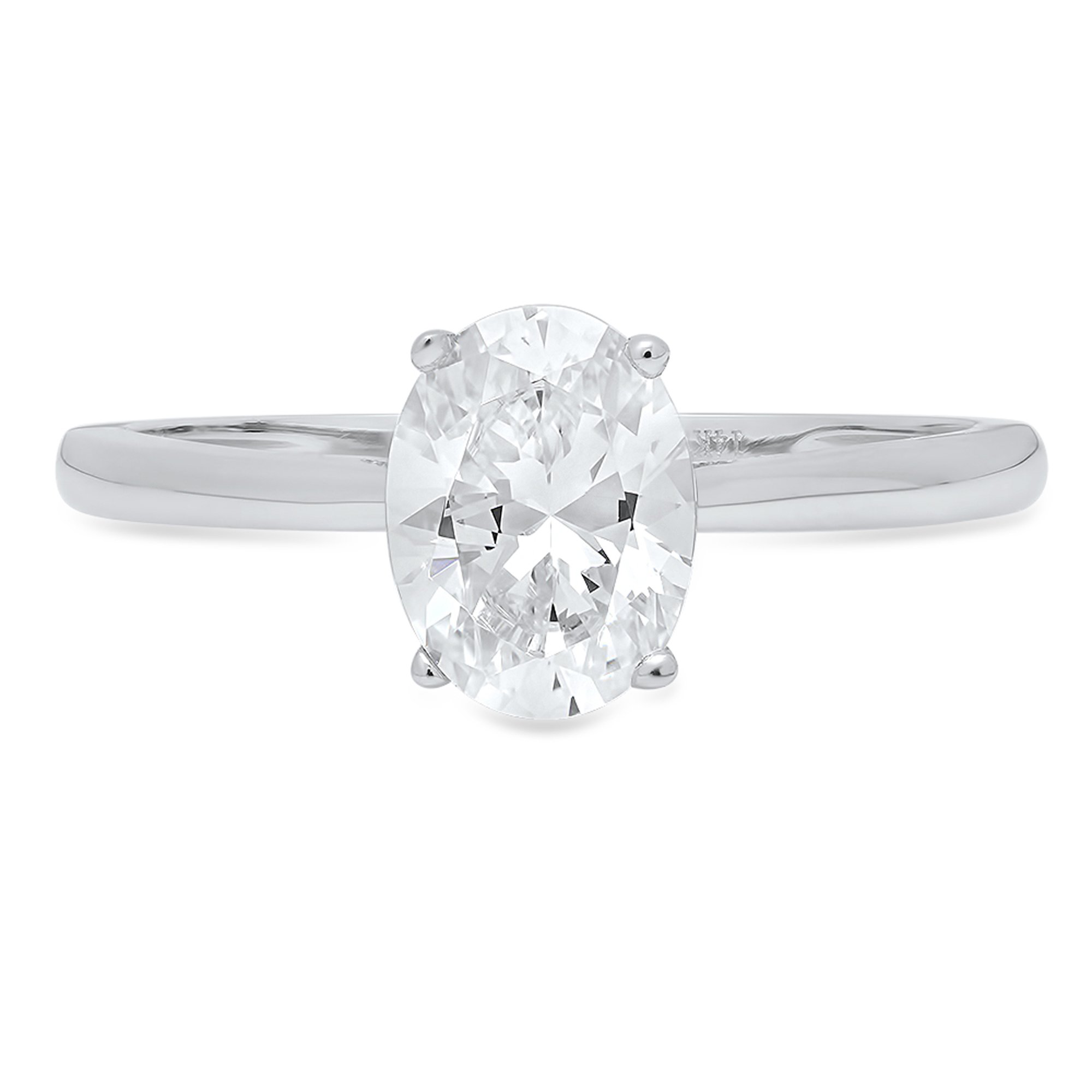 Clara Pucci Brilliant Oval Cut Solitaire Engagement Wedding Promise Bridal Ring in Solid 14k White Gold, 0.85CT, Size 8
