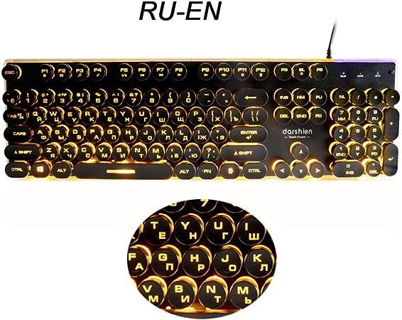 Keyboards Teclados Gaming rusos Retro Redondo Brillante Panel ...