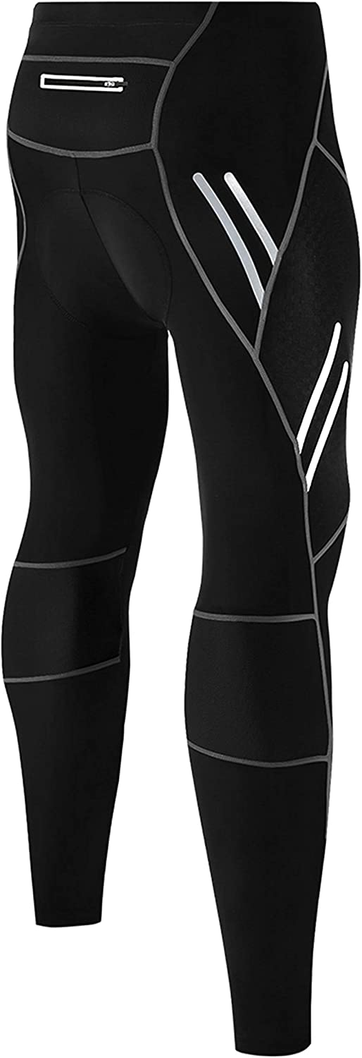 Legendfit Men's Bike Pants 4D Padded Compression Cycling Tights Long Bicycle Riding Leggings with Pocket Cycle Wear