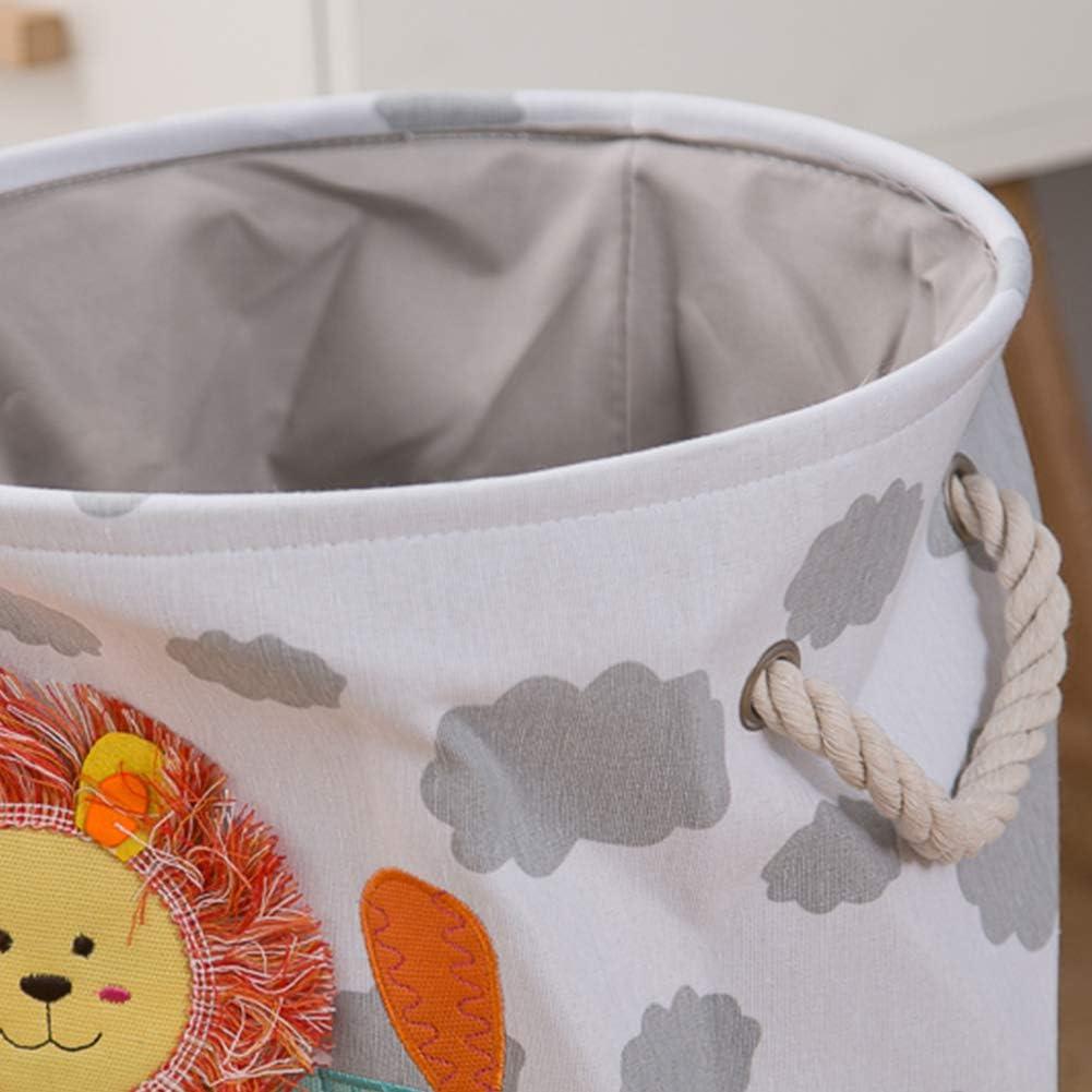 L/öwe OYHOMO W/äschekorb Kinder Aufbewahrungskorb Faltbare Stoff W/äschesack Gro/ße Runde Aufbewahrungsbox Tier Spielzeugkiste f/ür Kinderzimmer