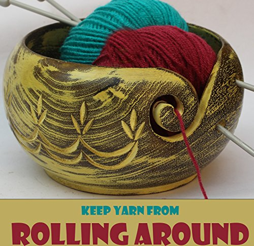 """Big Sale Offer - ARB Exports - 7"""" Wooden Yarn Bowl Hand Craved Flower String - Knitting Bowl with Holes Storage - Crochet Yarn Holder Bowl - Perfect for Men, Women and Seniors"""