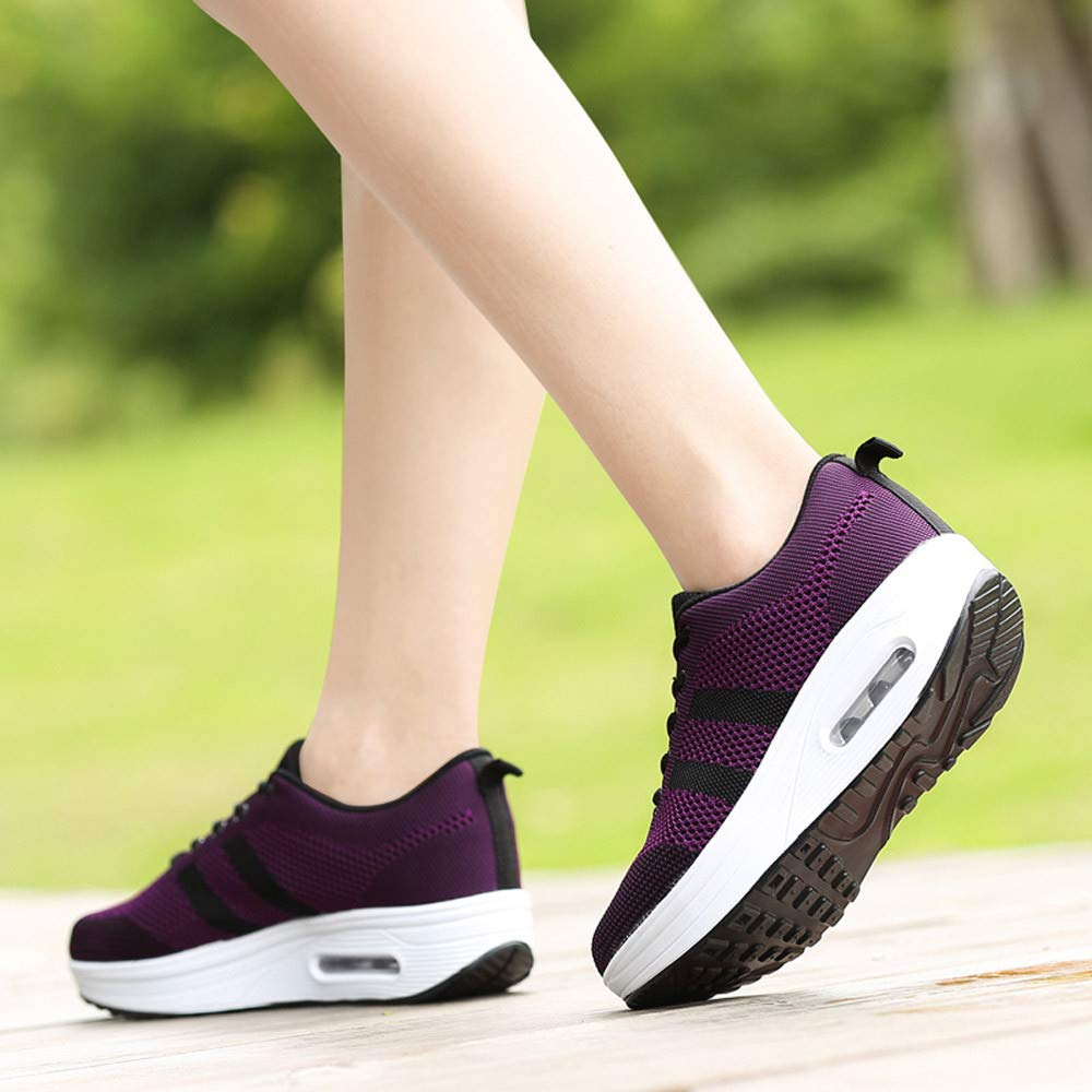 Sneakers Women Leisure Mesh Breathable Thick Bottom Mesh Sport Shoes
