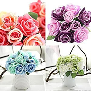 AMA(TM) 9 Heads Artificial Rose Silk Flowers Leaf Bridal Wedding Party Bouquet Home Garden Decor 43