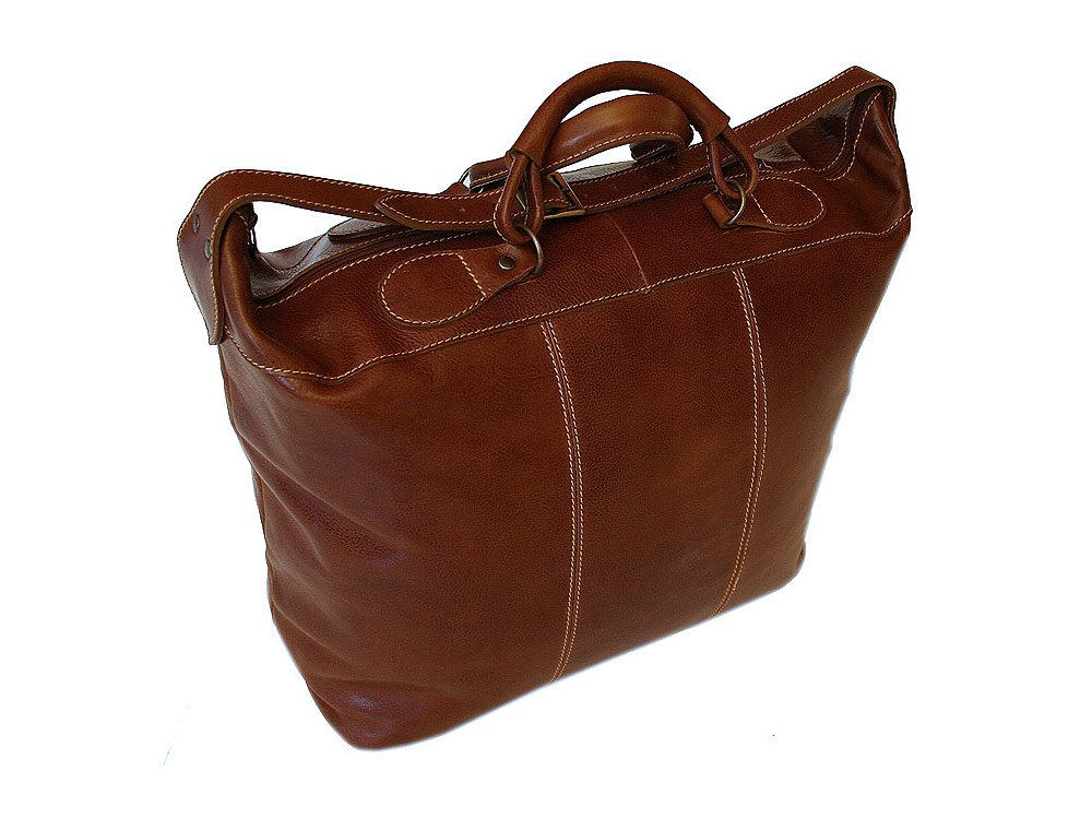 Floto Piana Tote Vecchio Brown Leather Luggage Weekender Bag