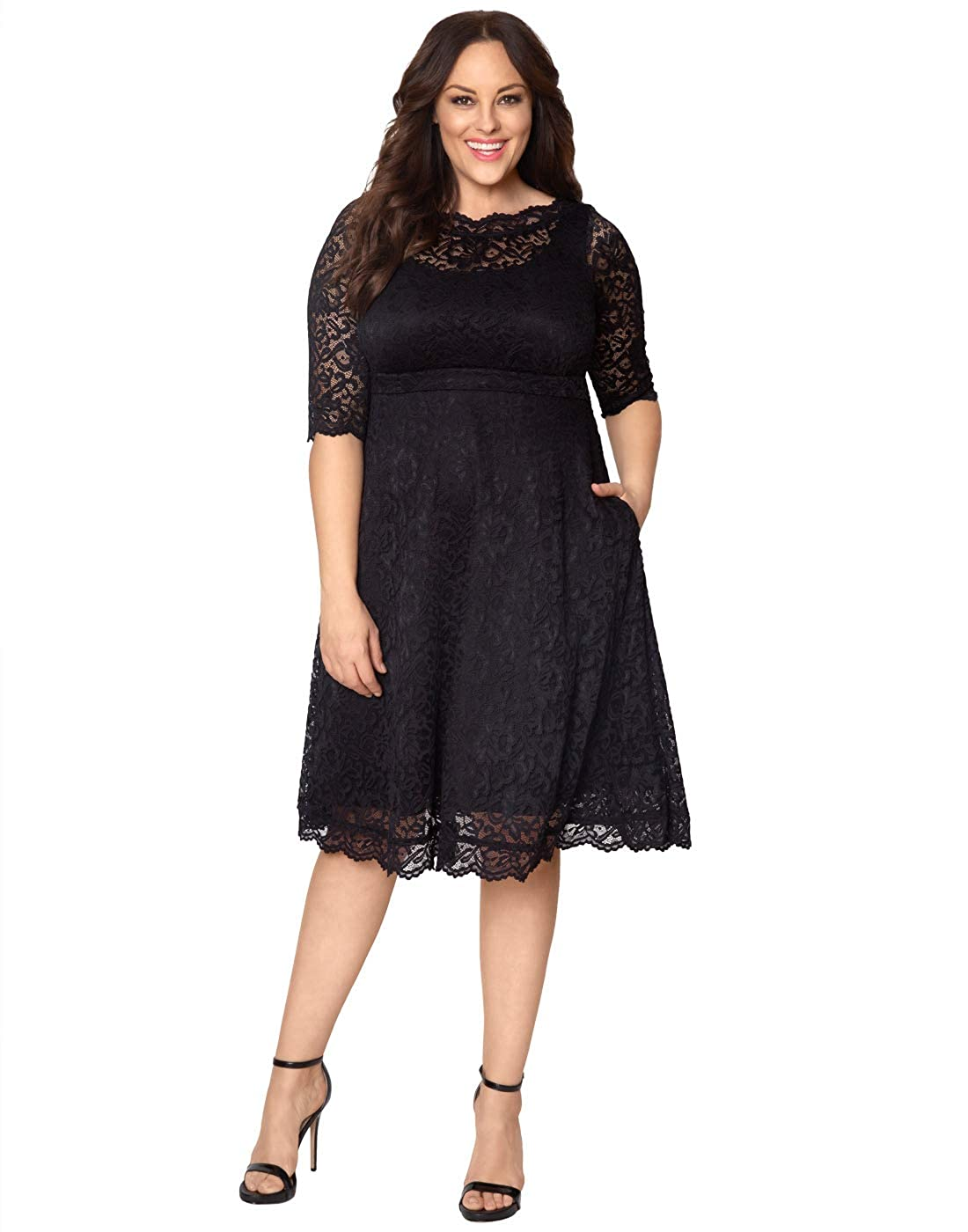 Onyx Kiyonna Women's Plus Size Lacey Cocktail Dress Mauve bluesh