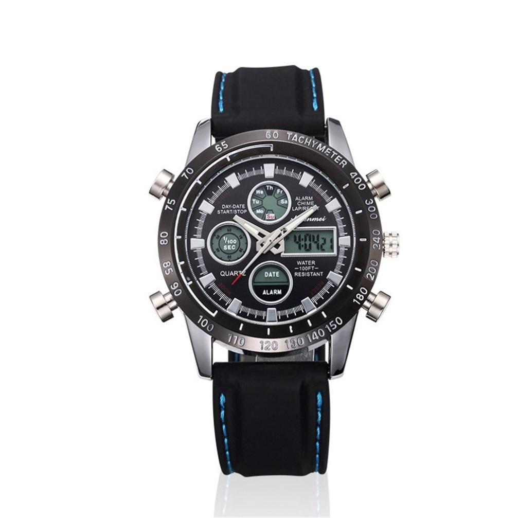 Unisex Watch, Siviki Unisex Men's Watch, SHIFENMEI Sport Watch Luxury Double Display Cold Light Electronic (Life Waterproof!!!) (Black)