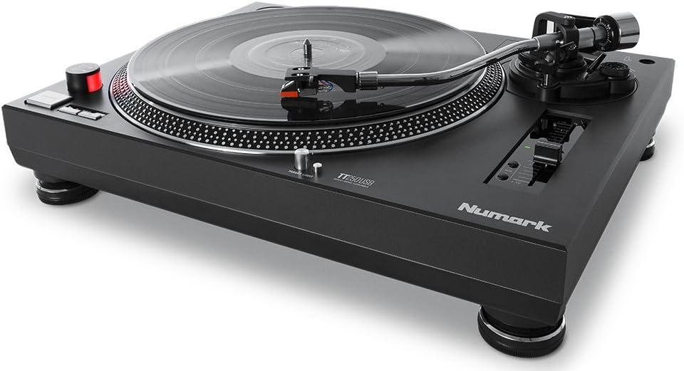 Numark TT250USB |  Platón giradiscos de DJ Profesional de Tracción Directa con Par de Torsión Superior, Cápsula Magnética de Alta