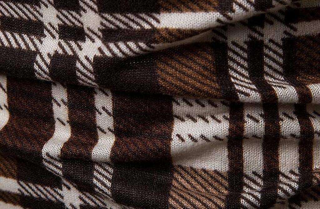 XTX Mens Plaid Fall Winter Regular Fit Long Sleeve Turtleneck Thermal T-Shirt Tops