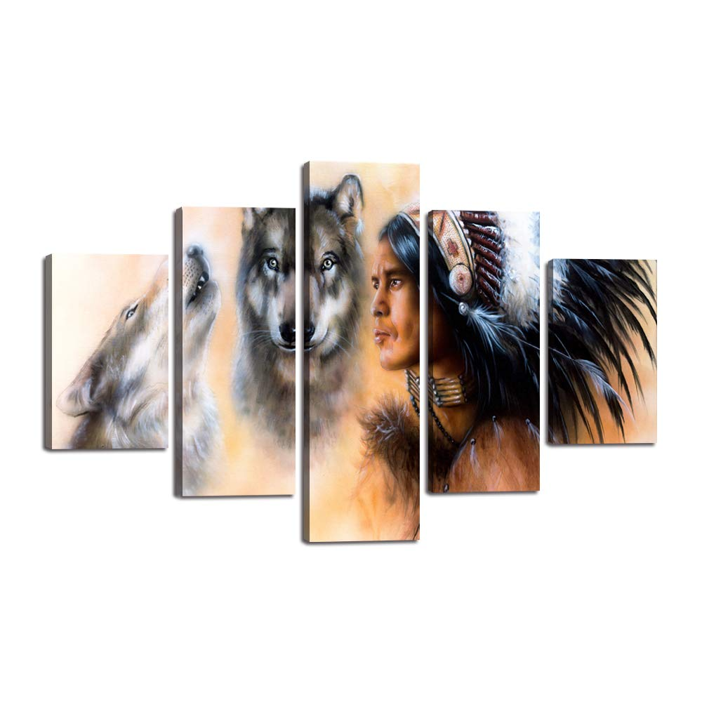 5 Piece Indian Man in Ethnic Feather with Wolf Canvas Painting Native American Wall Art Picture Modern Poster Print Mystic Artwork Home Decor for Living Room Bedroom Office Ready to Hang(60''Wx40''H)